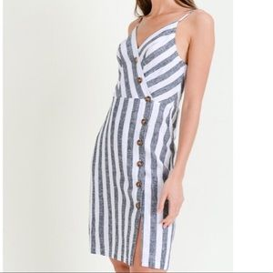Linen Striped Button Front Dress